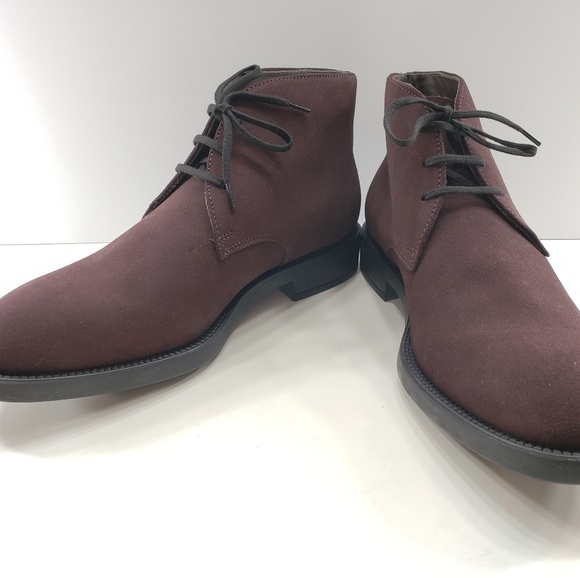 Tods Mens Suede Burgundy Boots